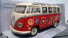VW Bus Combi Volkswagen T1,peace & love 1/24eme ,17cm,rouge, neuf, metal
