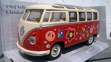 """Combi Volkswagen Minibus """"peace and Love"""" 1962 - Rouge 1/24"""