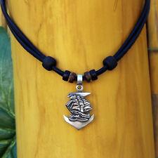 Collar Colgante de Ancla Ankerhalskette Cuero Hombre Mujer V8