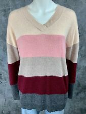 Charter Club 100% Cashmere Color Block V Neck Striped Sweater sz M (8747)