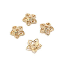 20pcs Real Gold Plated Brass 10mm Hollow Flower Bead Caps DIY Jewelry Accessory