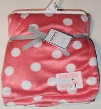 Carter's 40''x30'' Cozy Coral With White Polka Dot Flamingo Baby Blanket