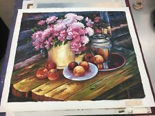 RAY STEVENS Artistic Impression Original Oil Painting Flowers Fruit Nature NICE