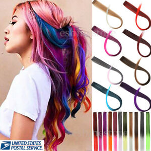 5 / 10 PCS Synthetic Color Hair Piece Extension Clip In Highlight Rainbow Streak