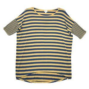 LuLaRoe Irma Tunic Top Tee Shirt Womens L Large Blue Yellow Striped High Low