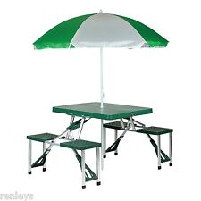 Fold Up Portable Carry On Outdoor Suitcase Picnic Table 4 Seats Umbrella Yard