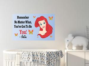 Wall sticker positive quote Wall poster Princess Ariel vinyl kids room decor