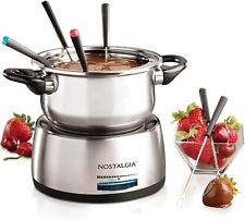 6-Cup Stainless Steel Electric Fondue Pot Nostalgia Temperature Control