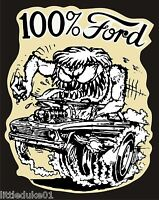 100% FORD Sticker Decal Hot Rod Car Surfboard Surfing PANEL VAN UTE GTO Rat Fink
