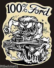 100% FORD Sticker Decal Hot Rod Car Surfboard Surfing PANEL VAN UTE GTO Rat Fink