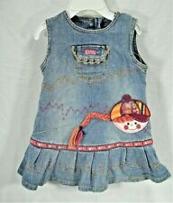 Girls size 18 month The Childrens Place blue stretch jean jumper dress 3D accent