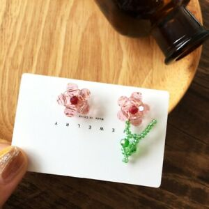 Colorful Handmade Braided Crystal Flower Stud Earrings Women Party Jewelry 2021