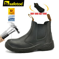 Safetoe Safety Work Boots Mens Shoes Steel Toe Water Resistant Slip on M-8025
