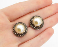 925 Sterling Silver - Vintage Pearl & Marcasite Dome Button Drop Earrings- E9224