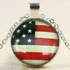 Patriotic Jewelry Mom Womens History New American Usa Flag Necklace Earrings Set