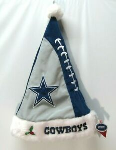 Dallas Cowboys Plush  Embroidered Santa Christmas Holiday Hat NFL Football