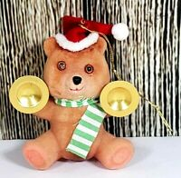 Vintage Flocked Bear Christmas Ornament Musical Teddy Cymbals Felt Kitsch