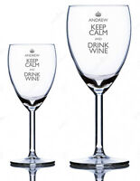 Personalised Engraved Wine Glass - Keep Calm - Choose Large/Standard glass