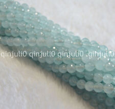 "Facettes 8 mm Aquamarine Bleu clair Gems Round Loose Beads Strand 15"" JL197"