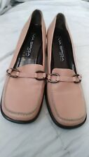 Via Spiga Women's 7.5 M Leather Square Toe Heels wide Shoes Made in Italy