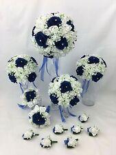 New ListingArtificial Silk Blue/White Foam Diamante Rose Flowers Wedding Bridal Bouquet Set