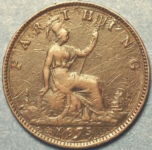 1875 United Kingdom Farthing  Victoria Queen