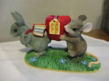 "Charming Tails Handcrafted Mouse & Rabbit with Books & Lg Apple ""For My Teacher"""