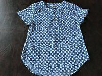 Women's Size S CHRISTOPHER & BANKS  Top Blouse Shirt Short Sleeve Blue