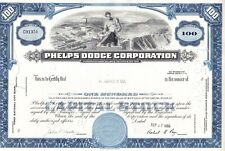 Broker Owned Stock Certificate:  H.Hentz & Co, payee; Phelps Dodge Corp,  issuer