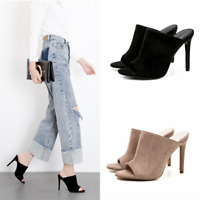 Ladies Fashion High Heels Mules Open Toe Slippers Party Sandals Stilettos Shoes