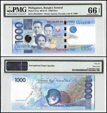 Philippines 1,000(1000)Piso,2010-15,P-211a,UNC,Santos,Escoda,Lim&1000,PMG 66 EPQ