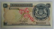 Singapore $1 Orchid Series Banknote HSS WO Seal B/44 833322 UNC
