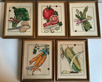 5 Vintage Embroidered Needlepoint Country Garden Fruit Vegetable Framed Pictures