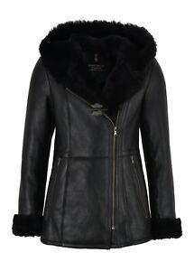 Ladies Sheepskin Jacket Shearling B3 Flying Black Genuine Fur Hoodie Jacket NV39