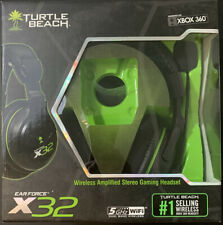 Turtle Beach Ear Force X32 Black/Green Headset Complete CIB Microsoft Xbox 360