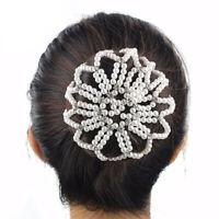 Faux Pearl Bun Hair Net Thick Crochet Mesh Snood Cover Ballet Dance Riding