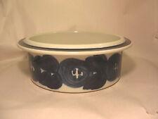 "Arabia Finland Bowl Anemone Blue Rim &  Flowers 2 5/8"" tall x 7 1/4 in Porcelain"