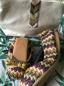 Size 41(7.5-8) Lovely Raffia Type Weave Fold Up Shoes With Clutch Bag.