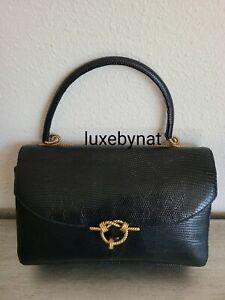 Hermes vintage bag black lizard gold hardware