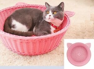 Handcraft Rattan Cat Bed Couch Cool Round PetKitty Sofa indoor Basket House Pink