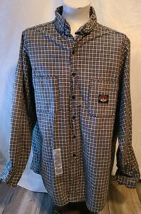 Mens Long sleeve button front shirt Rasco FR XL-Long flame resistant Green plaid