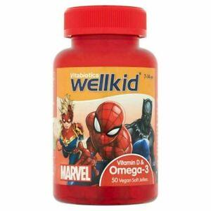 Vitabiotics WellKid Marvel Omega 3 amd Vitamin D - 50 Soft Jellies