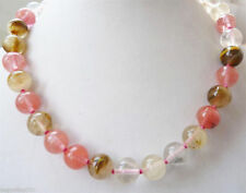 8mm Natural Mix colour Watermelon Tourmaline Gemstone Round Beads Necklace 18''