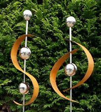 2er Set Gartenstecker Edelrost m. Edelstahl Kugel Metall Gartendeko Beetstecker