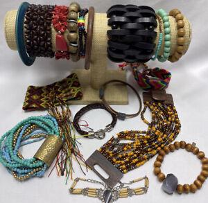 Boho Wood Bracelet Bangle Jewelry Lot Assorted Designs & Materials