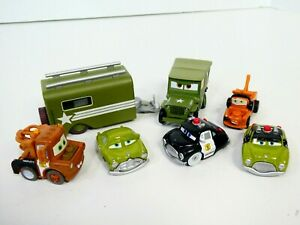 Disney Cars Mini Adventure Boot Camp Military Lot of 7 Sarge Trailer Camo Car