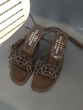Valentino Wedge Shoes Brown Leather With Long Ankle Straps,Size EU 35, UK 2
