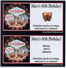 Casino Night personalized party favors scratch-off game
