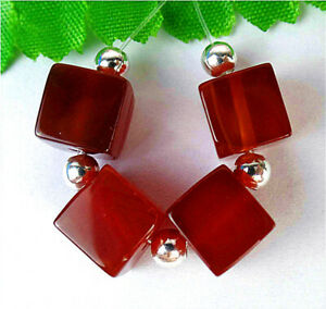 8mm 4Pcs Brown Red Stripes Onyx Agate Cube Height Hole Pendant Bead BV10961