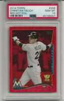 2014 TOPPS #358 CHRISTIAN YELICH, PSA 10 GEM MINT, ROOKIE CUP RED HOT FOIL,POP 5